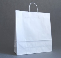 TORBA PAPIEROWA biała - rozmiar: 45 x 15 x 49 cm