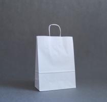 TORBA PAPIEROWA biała - rozmiar: 27 x 12 x 37 cm